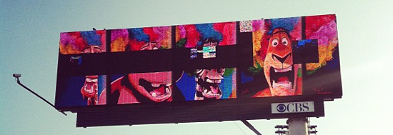 A somewhat glitchy electronic billboard in Los Angeles, California