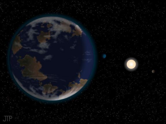 An artist's rendering of the theorized Earth-like planet, potentially capable of containing liquid water.