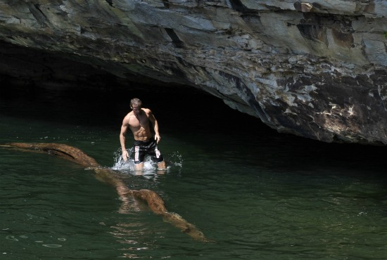 """Erwan Le Corre demonstrates a drill in """"water training"""" at a five-day MovNat course in West Virginia."""