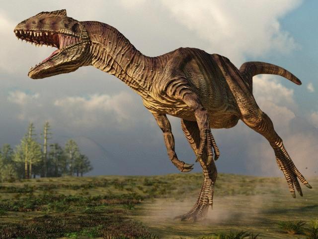 Allosaurus running in an open field