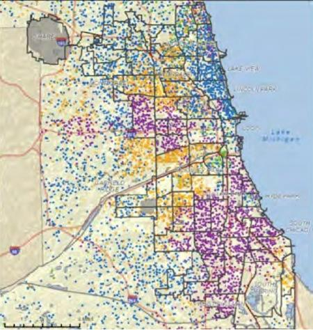 Chicago's race segregation. Blue dots represent whites, while purple dots represent blacks.