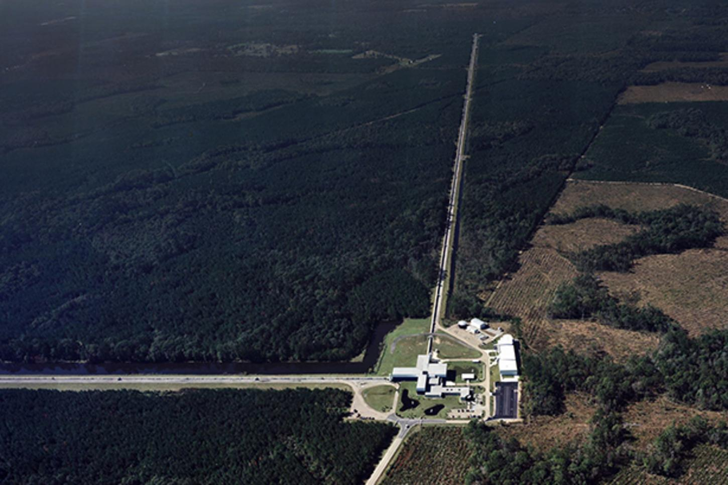 Aerial view of the LIGO gravitational wave detector in Livingston, Louisiana.