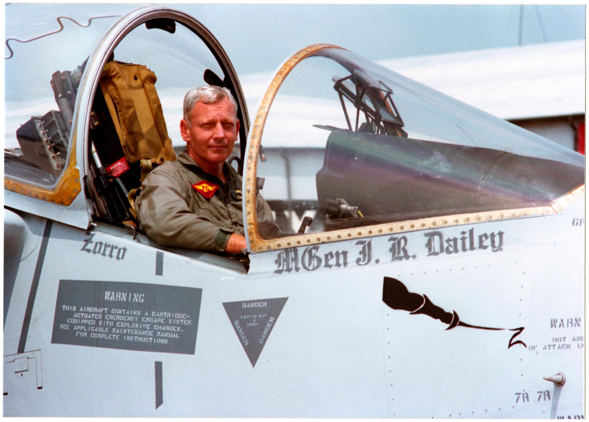 "Dailey, call sign ""Zorro,"" in an AV-8B Harrier II, ca. 1986."