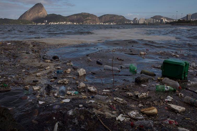 Trash floats in Guanabara Bay in Rio de Janeiro in August 2017.