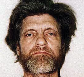 "A mugshot of  Theodore J. Kaczynski, the ""Unabomber,"" after his capture on April 3, 1996."