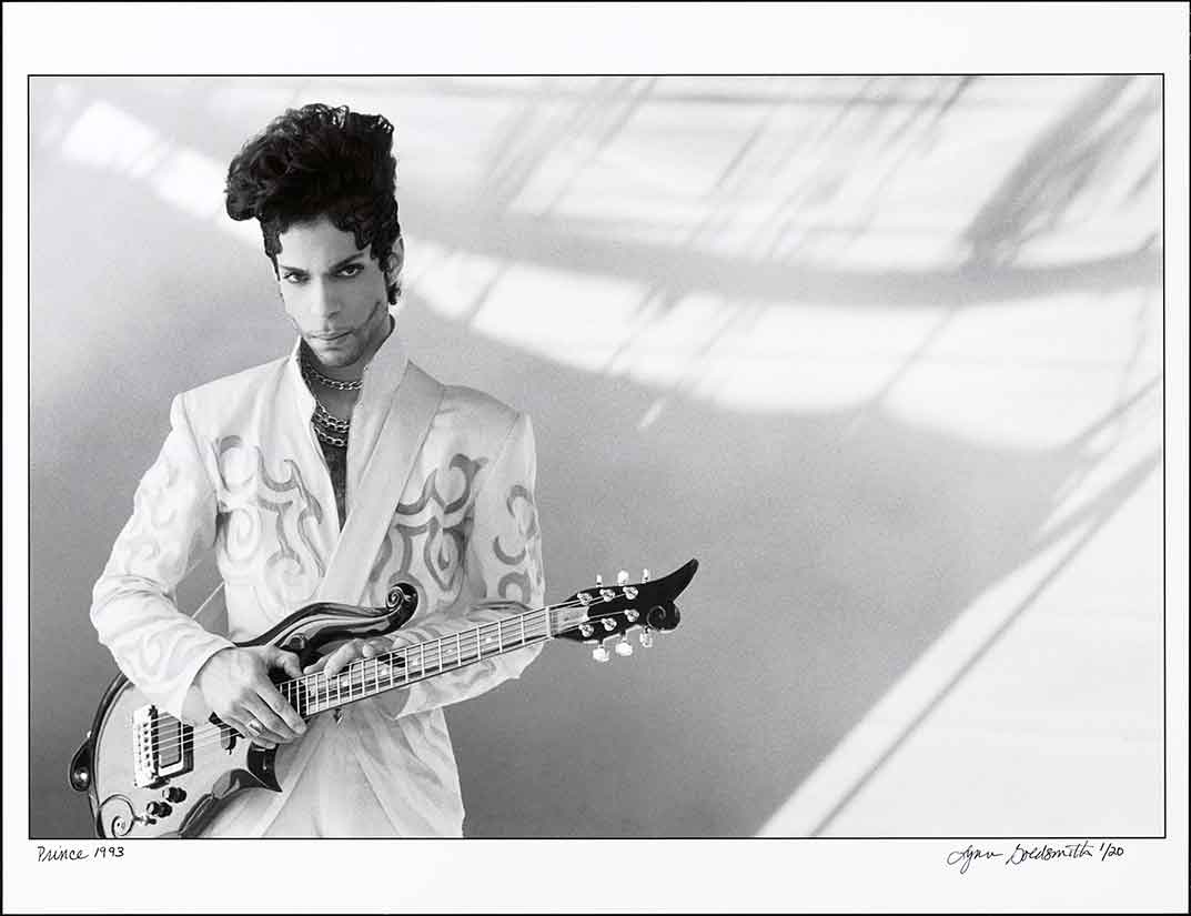 From the collections of the National Portrait Gallery in Washington, D.C. is this 1993 photograph of Prince Rogers Nelson (1958-2016) by Lynn Goldsmith