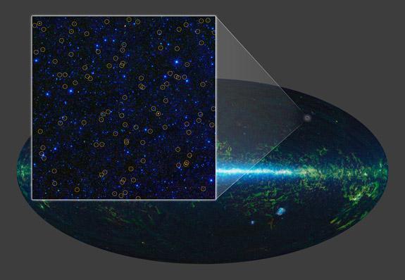 Yellow circles denote the presence of black holes.