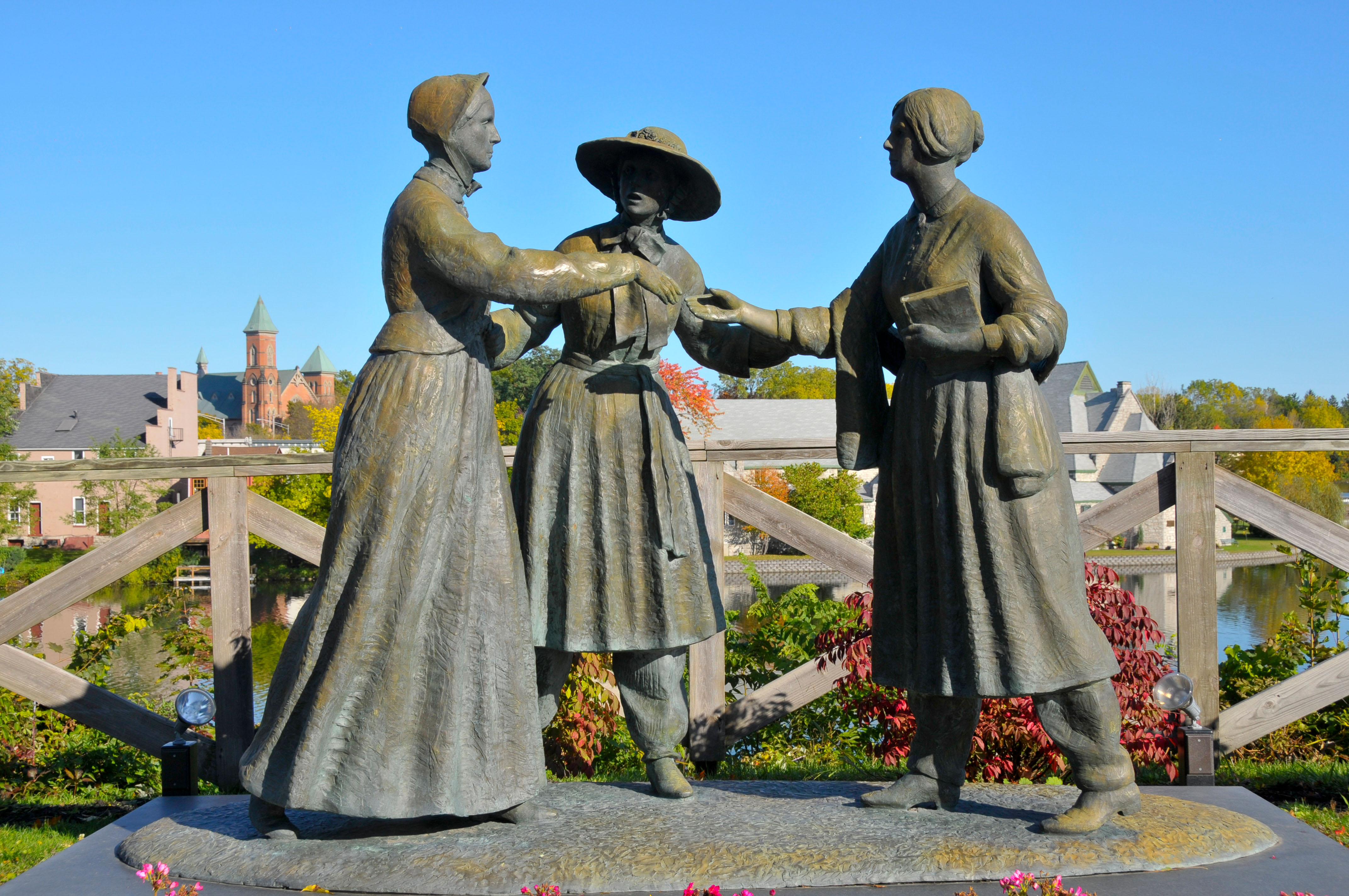 Statue of Susan B Anthony Amelia Bloomer and Elizabeth Cady Stanton