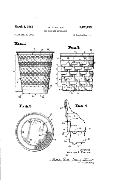 One of Sorensen's predecessors filed a patent for this cup to hold hot beverages.