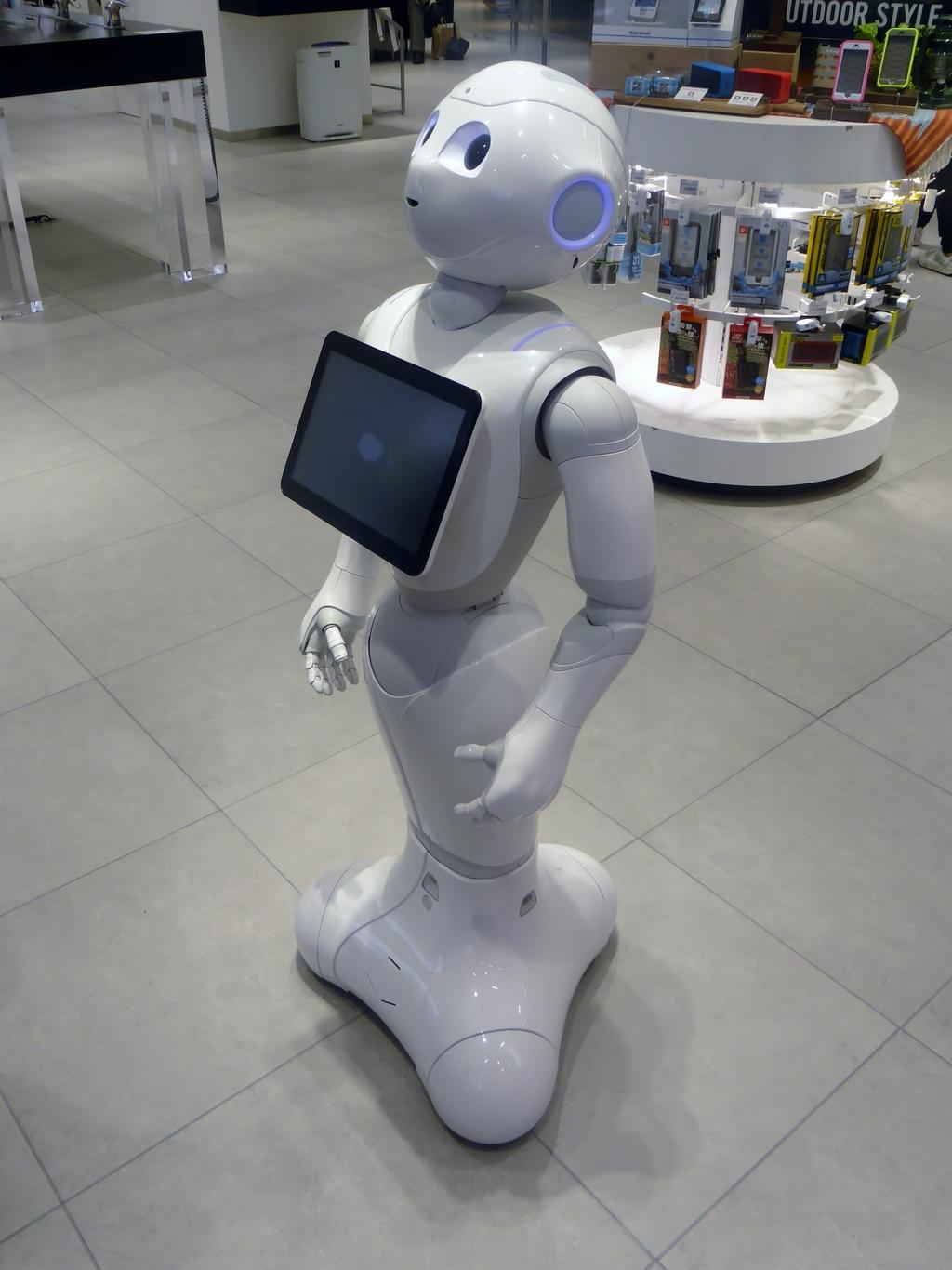 Pepper, a social companion robot, in a retail environment.