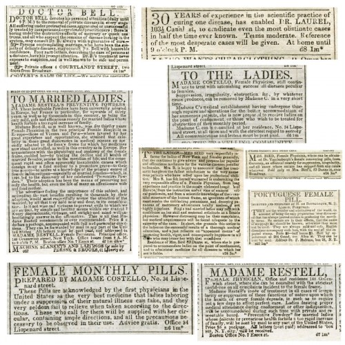 Classified advertisements from the New York Herald and the New York Sun, December 1841