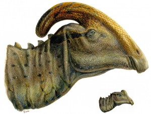 A depiction of Joe (right corner) and an adult of Joe's species.
