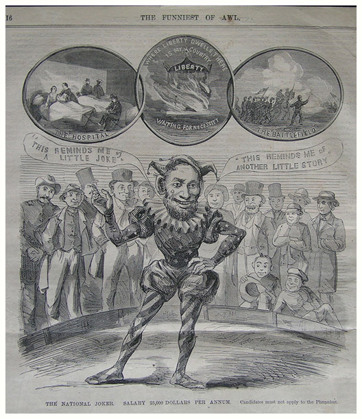 """A caricature of Lincoln as the """"National Joker."""""""
