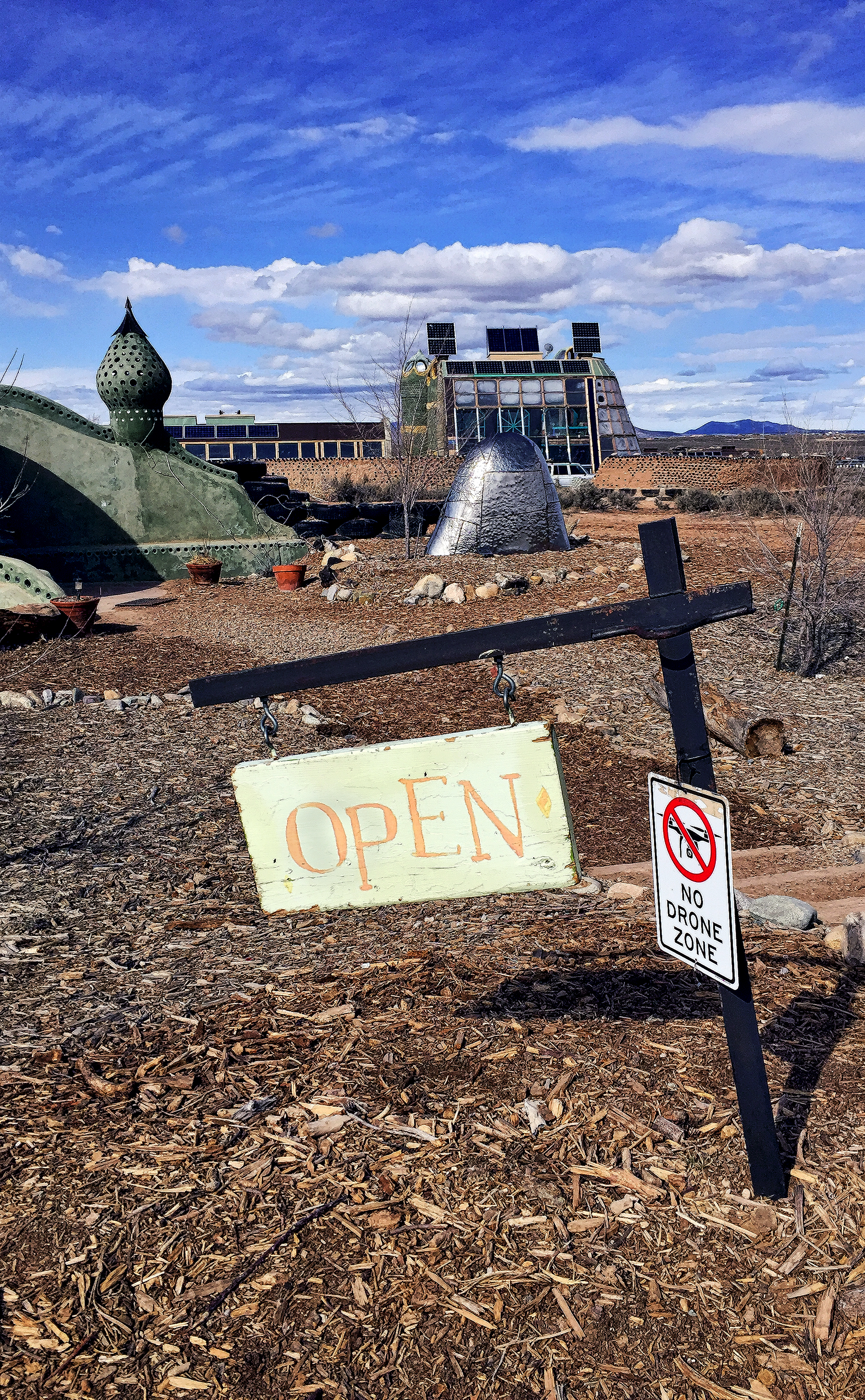 The Earthship Community welcome center, on the high Taos plateau of northern New Mexico.
