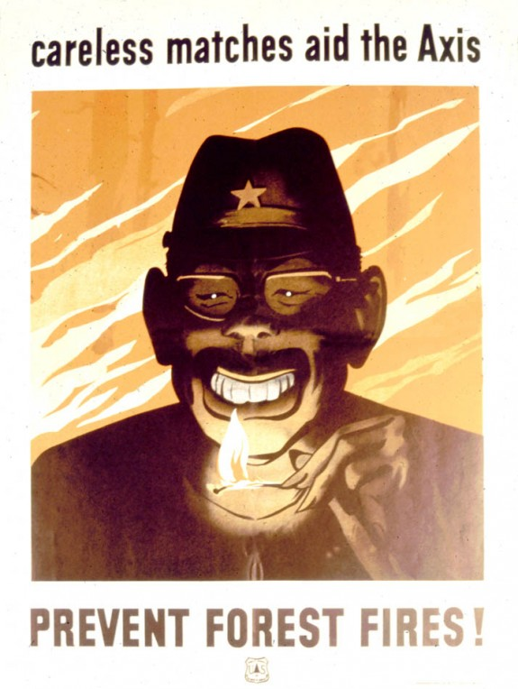 """""""A highly caricatured Japanese soldier grins before a lighted match."""" c 1942."""