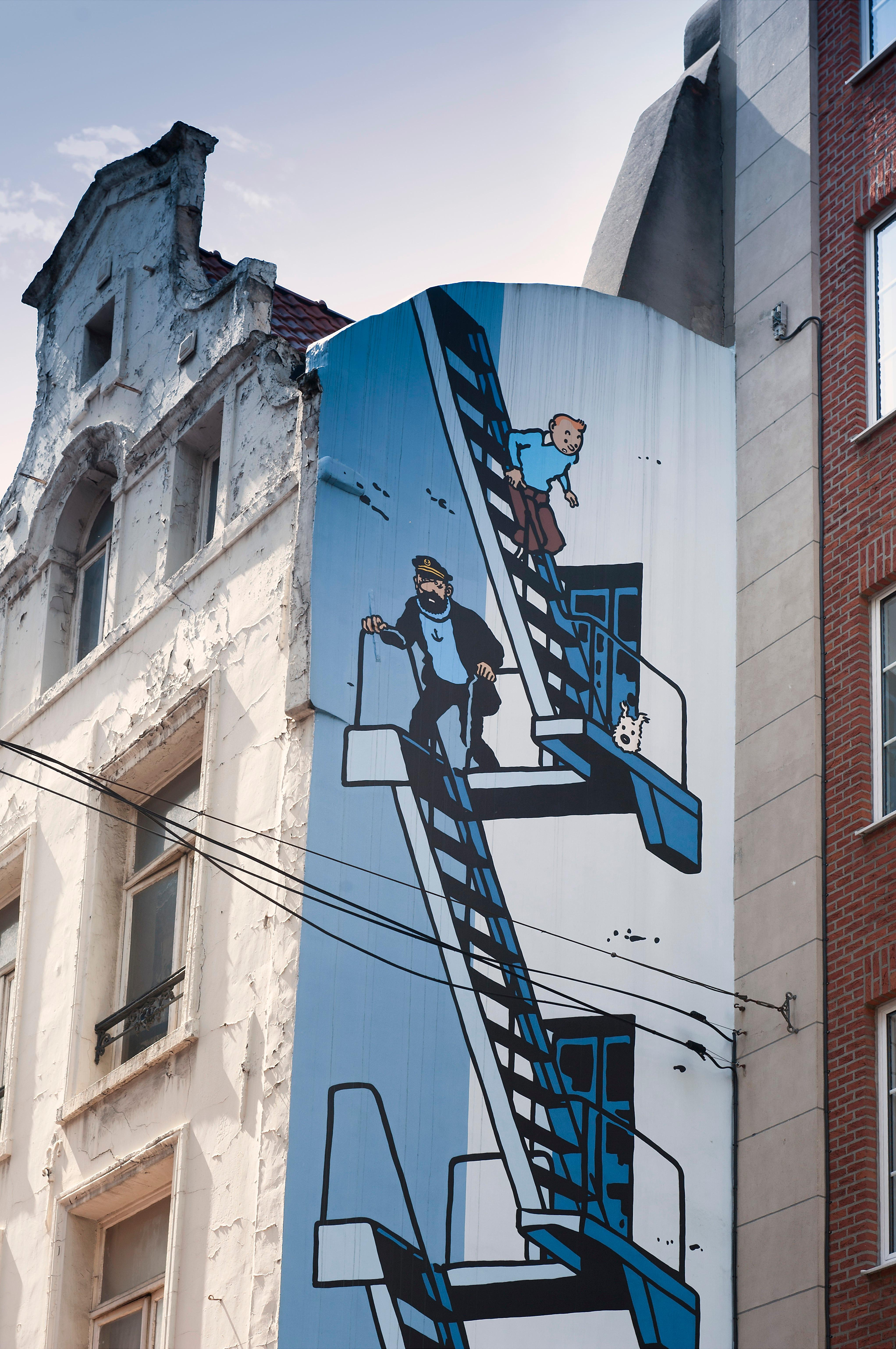 Mural of Hergé's Tintin and Captain Haddock, Brussels