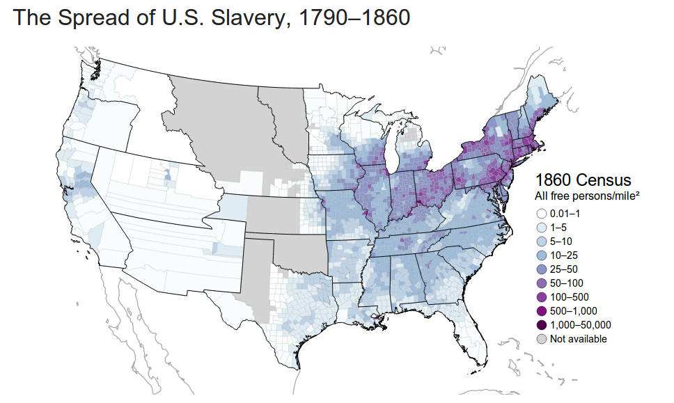 These Maps Reveal How Slavery Expanded Across The United States - Us population density map 1790