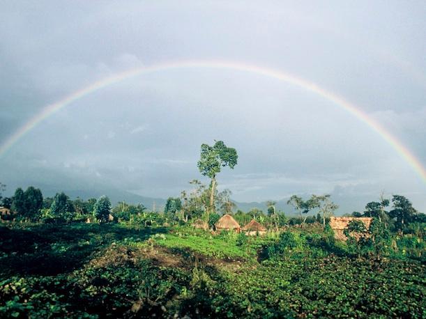 Rainbow near Mikeno Volcano