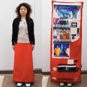 A woman in Japan turns herself into a vending machine.