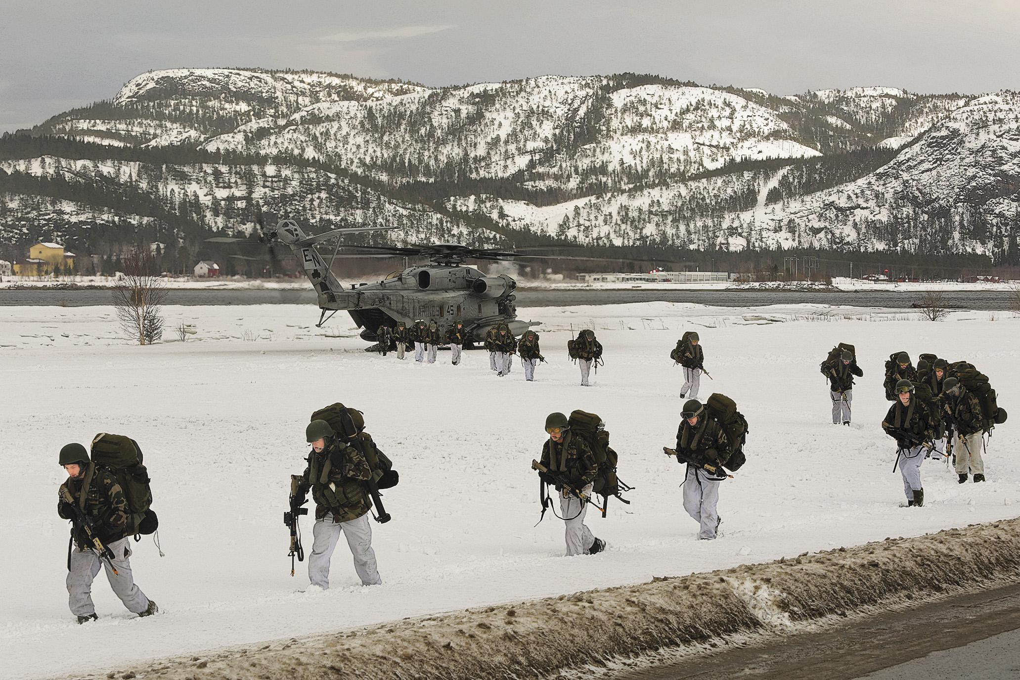 Norwegian soldiers, U.S. Marines, and Dutch and British commandos