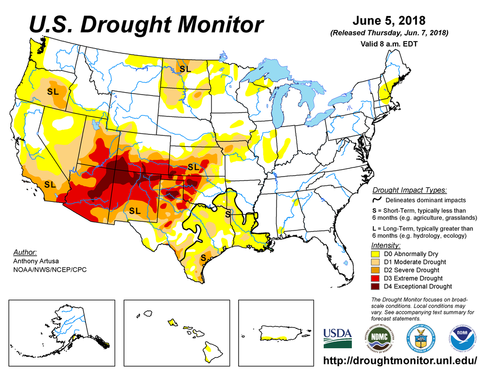 In early June 2018, drought affected 27 percent of the lower 48 states.