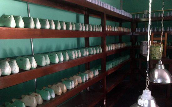Shelves of shoe lasts
