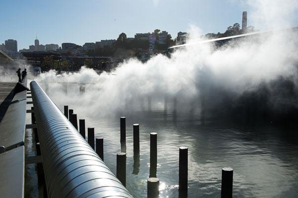A view of Fujiko Nakaya's Fog Bridge