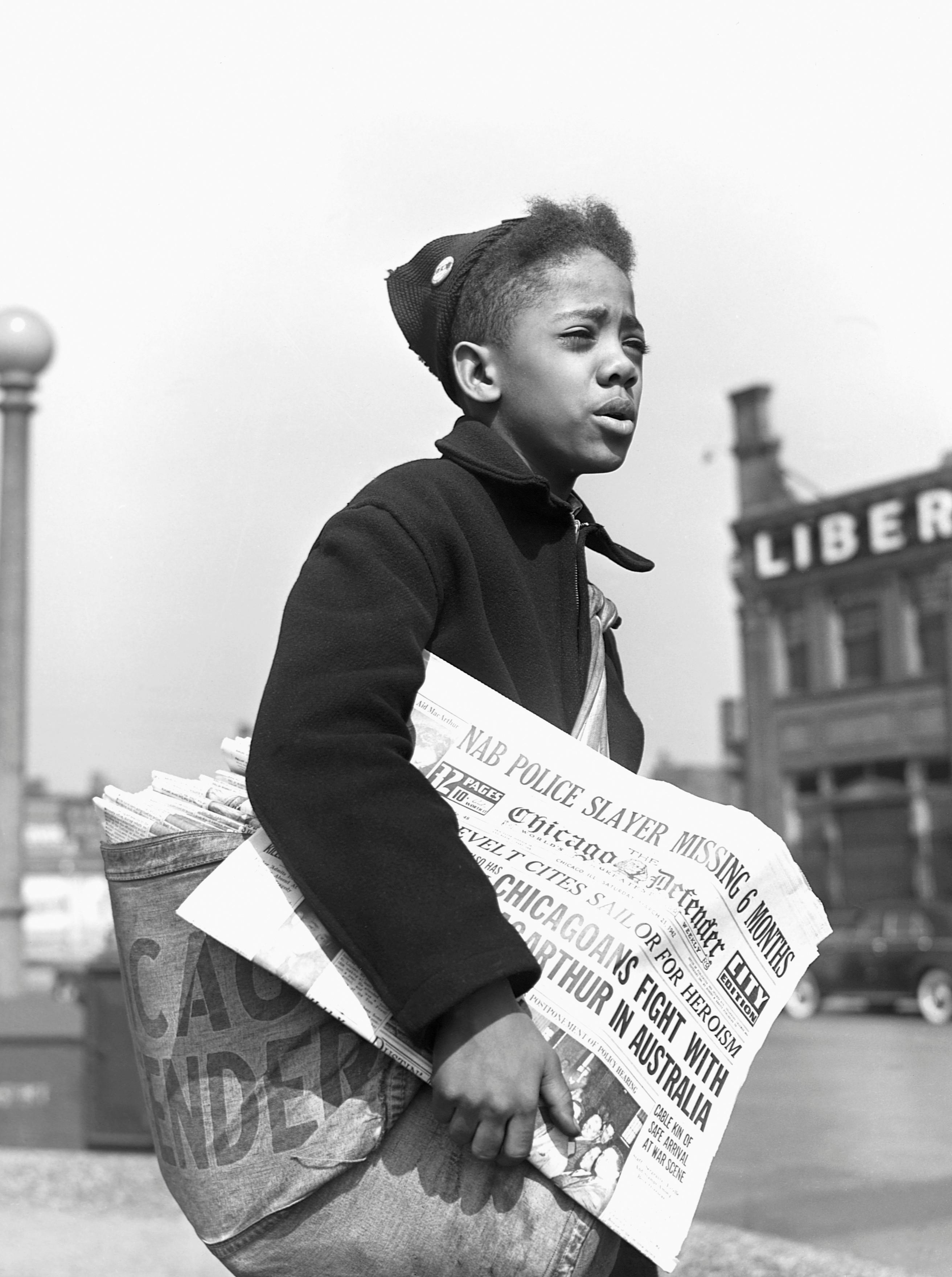 Boy Selling the Chicago Defender