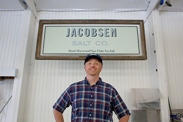 Ben Jacobsen in front of his salt plant