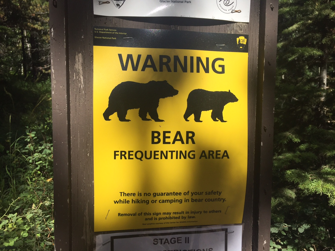 Trailhead warning