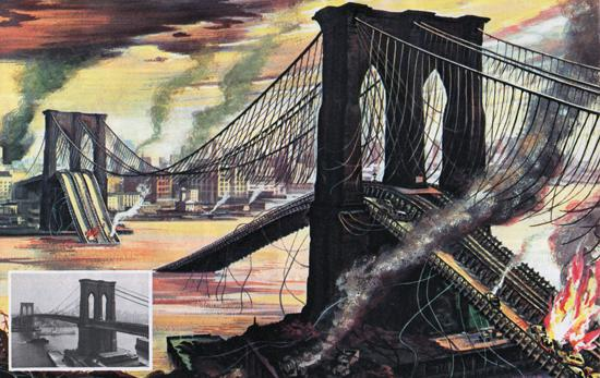 The Brooklyn Bridge after a nuclear attack on New York