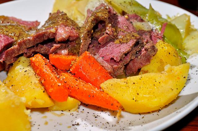 The infamous St. Patrick's Day meal of corned beef, cabbage and potatoes.