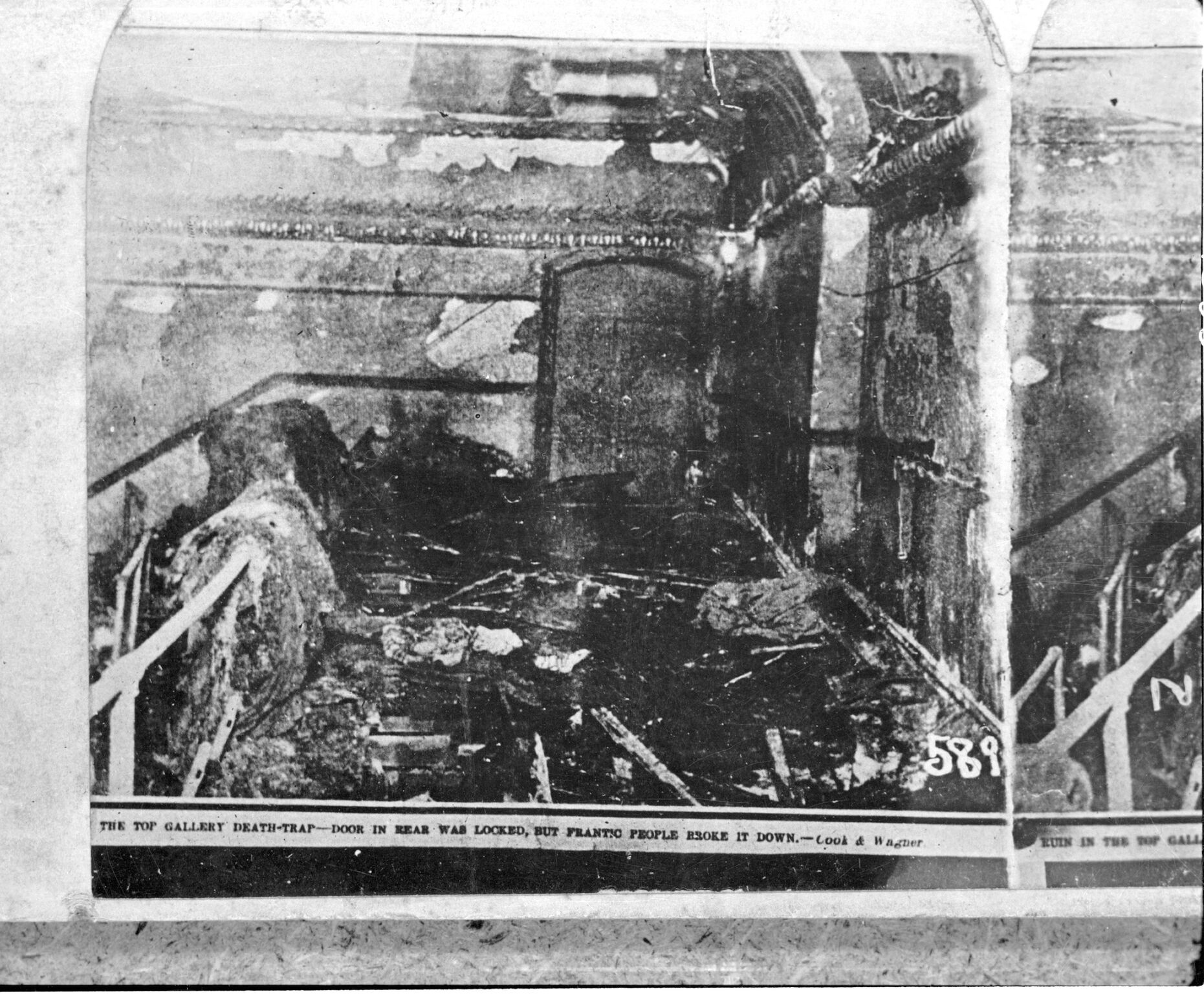 Iroquois Theatre top gallery after the fire, Chicago, Illinois, 1903