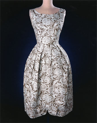 This chic dress was made by Mrs. G. R. (Dorothy) Overall of Caldwell, Kansas, in 1959.