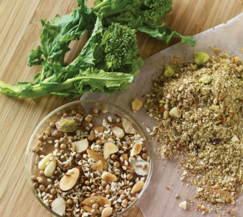 Dukkah, a blend of cumin, coriander, sesame and nuts with fresh broccoli.
