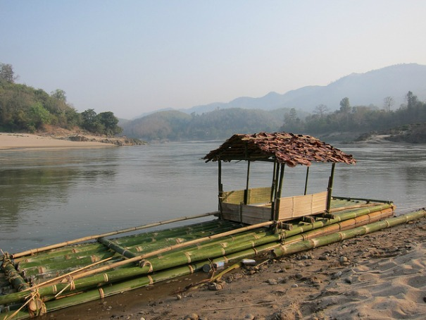 A ceremonial boat on the Salween River.