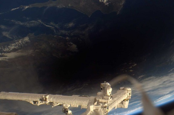 The Moon's shadow during a solar eclipse, as seen from the International Space Station.