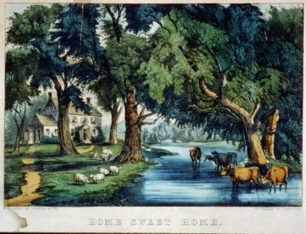 "A Currier & Ives print called ""Home Sweet Home"""