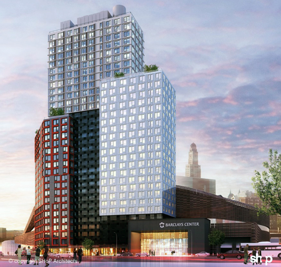 A rendering of B2 by SHoP Architects