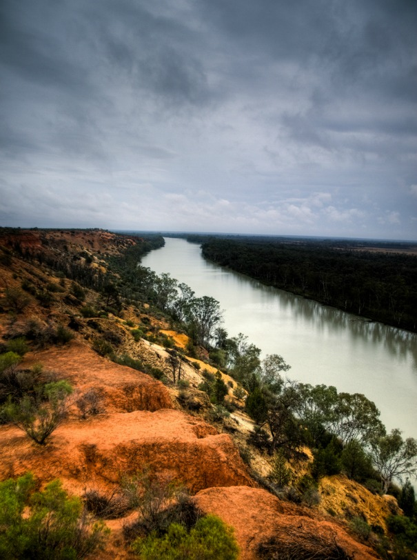 The Murray River seen from a tower in Renmark, Australia.