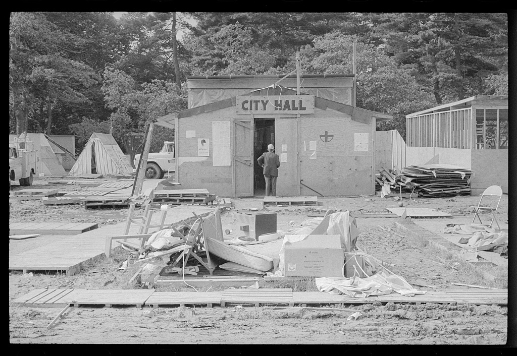 Resurrection City--tearing down of wood huts