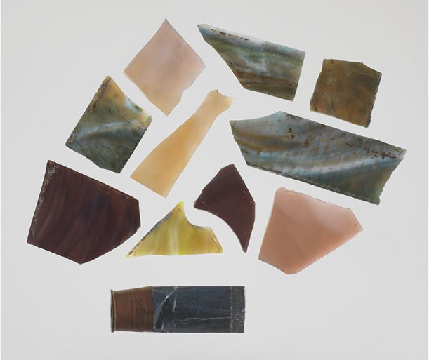 These glass shards are from the church's stained-glass window.