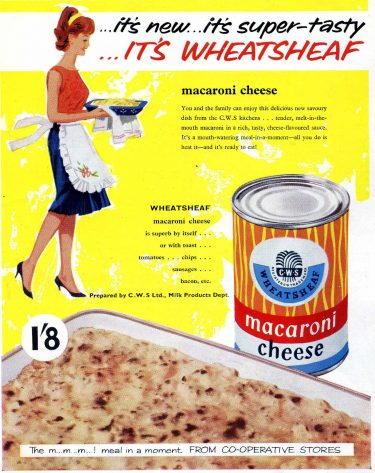 "Advertisement from the 1950s for Wheatsheaf brand tinned ""macaroni cheese."""