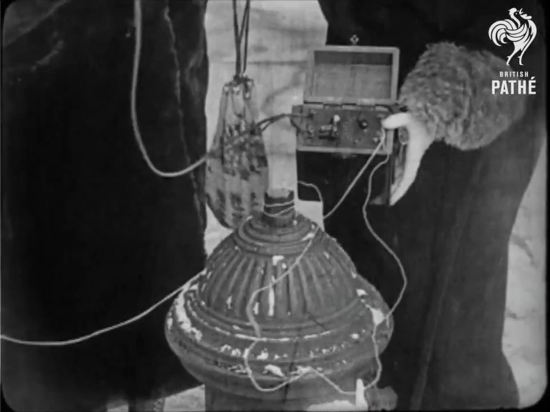 The crystal radio being grounded to a fire hydrant
