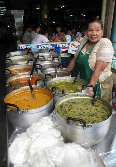 curries at a street food stall