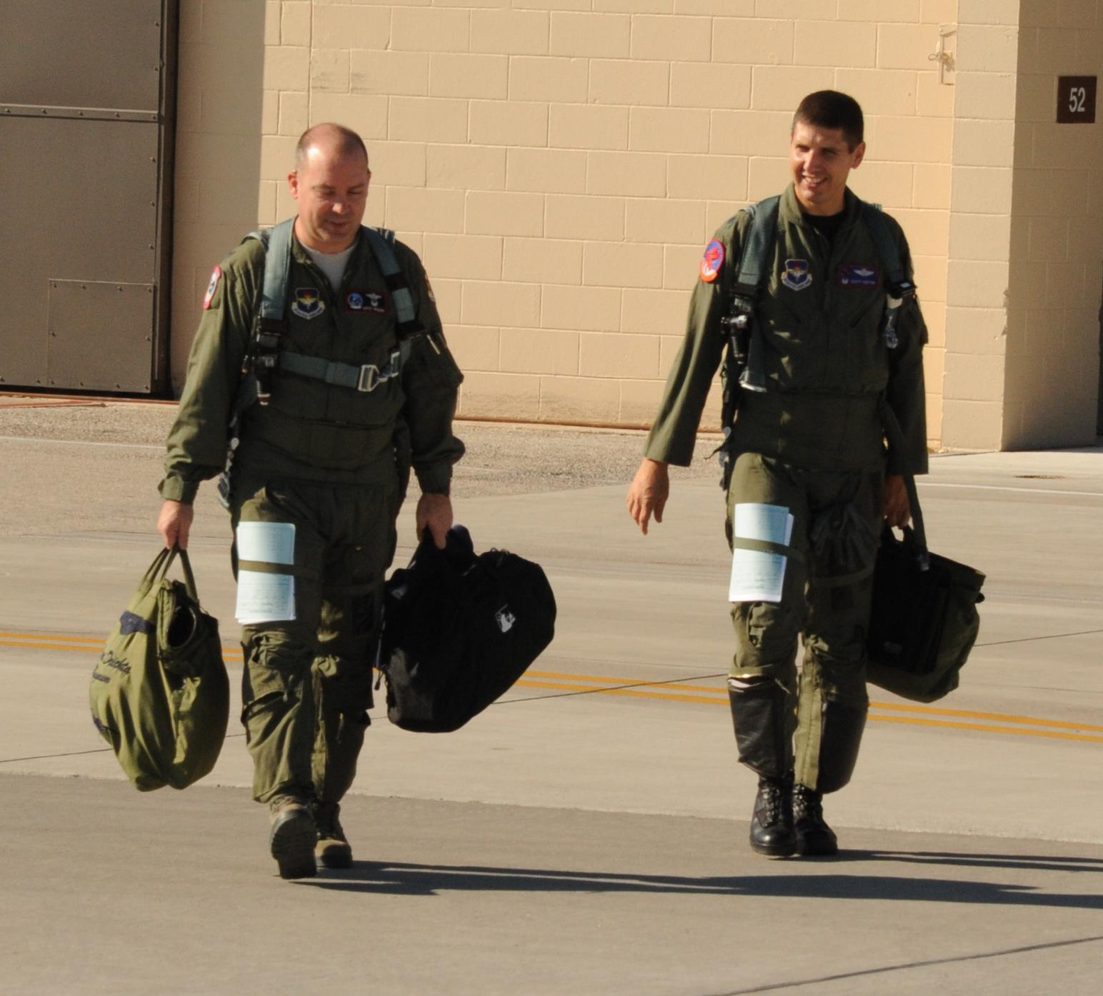 David Drichta (left), Air Force training commander (and former F-15 pilot)