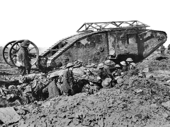British Mark I tank in action, 1916. Pigeons carried on board tended to become disoriented by petrol fumes.