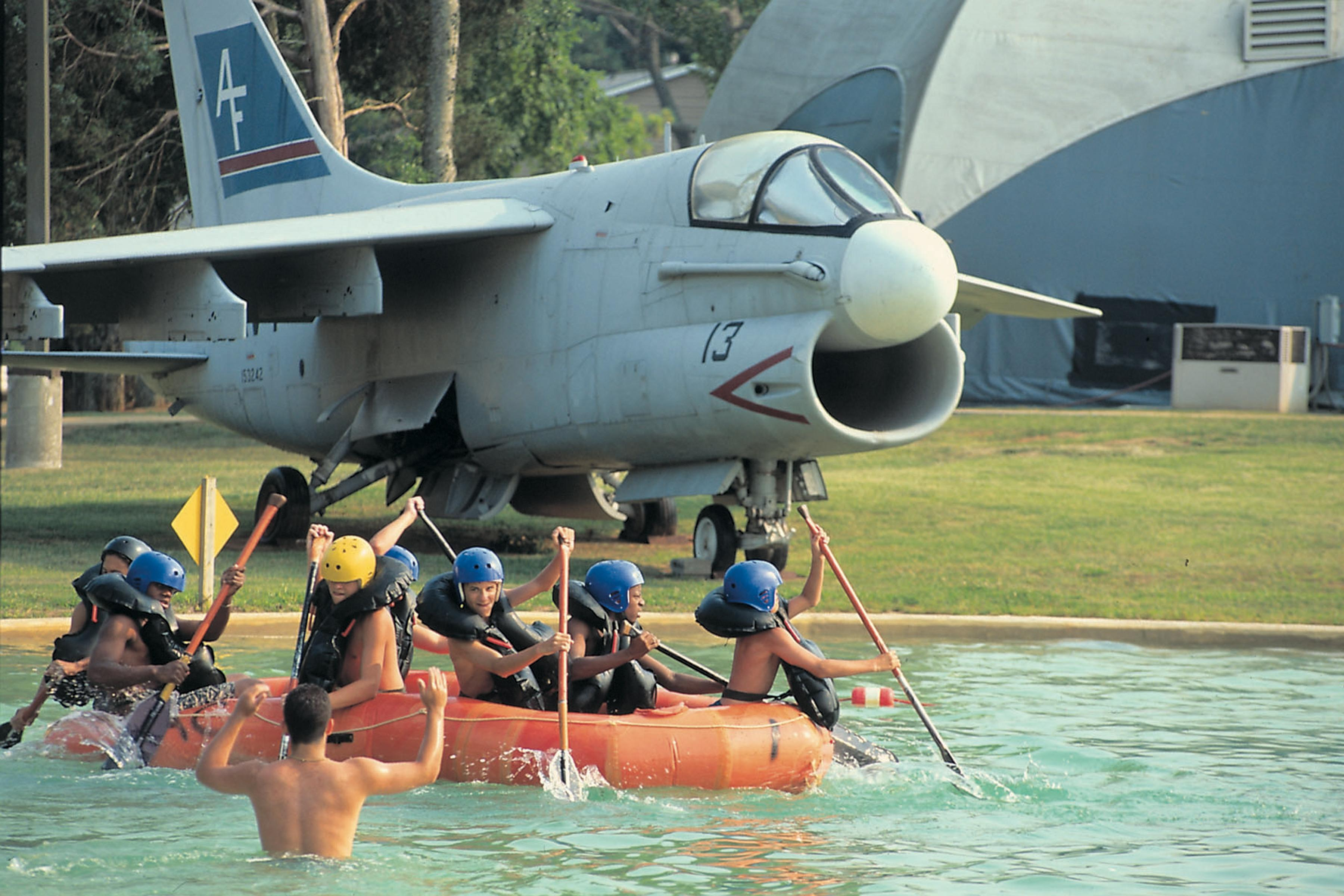 In an Aviation Challenge raft race, competitors learn to work as team.