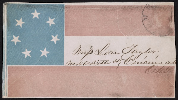 Envelope featuring the Confederate flag