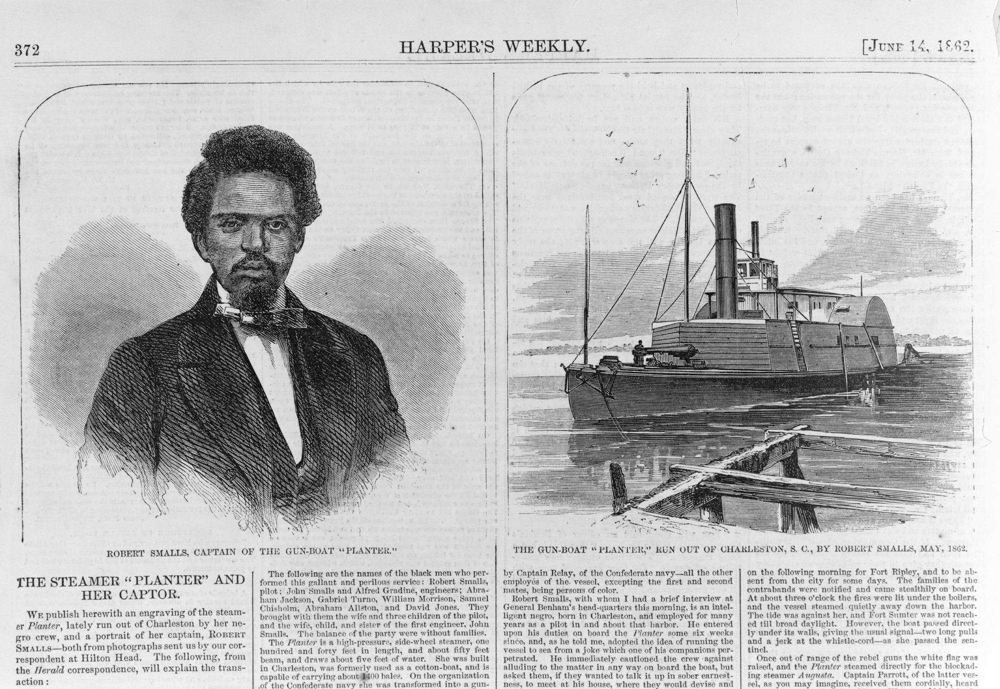 """Harper's Weekly reports on """"The Steamer 'Planter' and Her Captor,"""" June 14, 1862"""